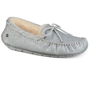 Uggs Dakota sparkle silver slippers